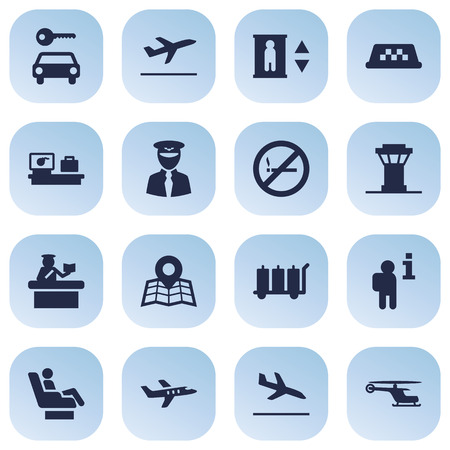 inform information: Set Of 16 Aircraft Icons Set.Collection Of Chopper, Lift, Aviator And Other Elements. Illustration