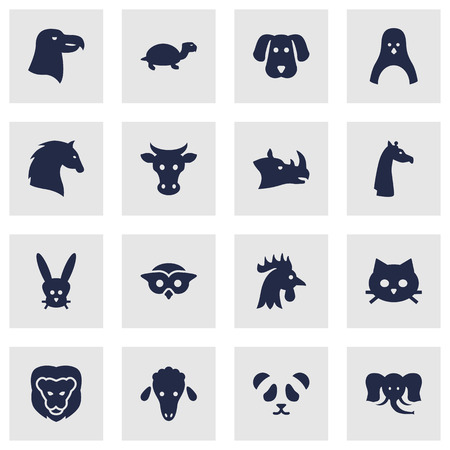 camelopard: Set Of 16 Alive Icons Set.Collection Of Bear, Rhinoceros, Tortoise And Other Elements. Illustration