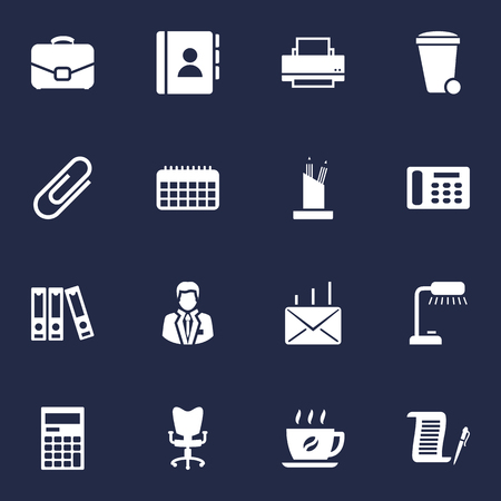 Set Of 16 Bureau Icons Set.Collection Of Calculator, Coffee, Manager And Other Elements. Illustration