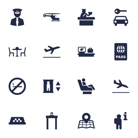 Set Of 16 Land Icons Set.Collection Of Resolver, Vip, Leaving And Other Elements.
