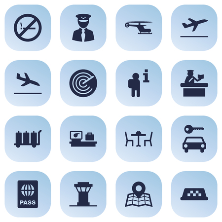 interdiction: Set Of 16 Aircraft Icons Set.Collection Of Restaurant, Leaving, Data And Other Elements. Illustration