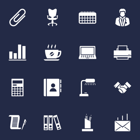 Set Of 16 Bureau Icons Set.Collection Of Clip, File Folder, Handshake Elements.