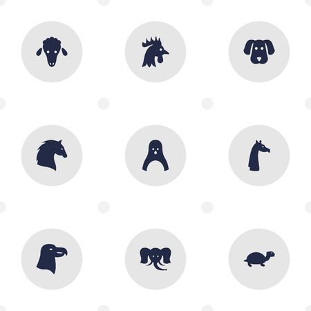 camelopard: Set Of 9 Brute Icons Set.Collection Of Hound, Mutton, Camelopard And Other Elements. Illustration