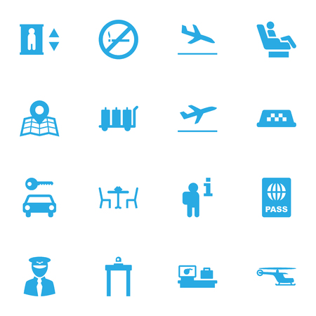 Set Of 16 Aircraft Icons Set.Collection Of Data, Passport, Leaving And Other Elements.