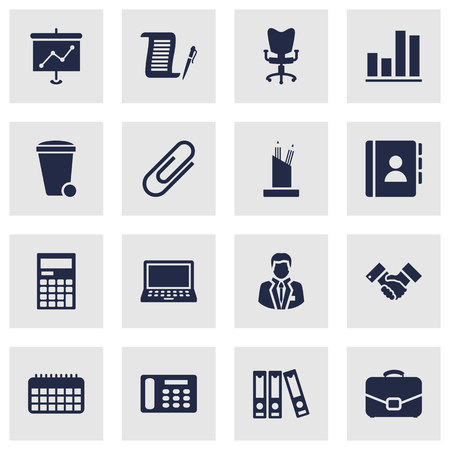stapled: Set Of 16 Work Icons Set.Collection Of Presentation, Diplomat, Manager And Other Elements.