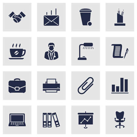 illuminator: Set Of 16 Work Icons Set.Collection Of Table Lighter, Office Chair, Printer And Other Elements. Illustration