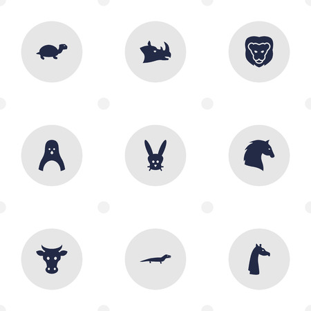 Set Of 9 Brute Icons Set.Collection Of Sea Bird, Camelopard, Bunny And Other Elements.  イラスト・ベクター素材