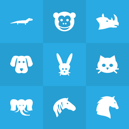 steed: Set Of 9 Alive Icons Set.Collection Of Bunny, Steed, Ape And Other Elements. Illustration