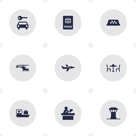 documentation: Set Of 9 Land Icons Set.Collection Of Security, Resolver, Transporter Car And Other Elements.