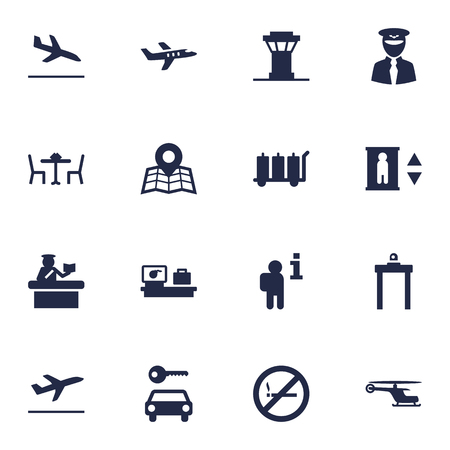 documentation: Set Of 16 Aircraft Icons Set.Collection Of Carriage, Aviator, Data And Other Elements. Illustration