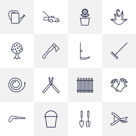 tree trimming: Set Of 16 Horticulture Outline Icons Set.Collection Of Firehose, Shears, Hatchet And Other Elements.