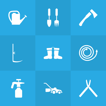 scissors: Set Of 9 Farm Icons Set.Collection Of Tools, Scissors, Lawn Mower And Other Elements.