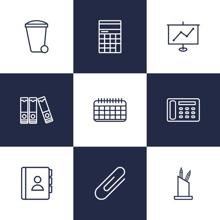 Set Of 9 Work Outline Icons Set.Collection Of Recycle Bin, Contacts, Show And Other Elements. Illustration