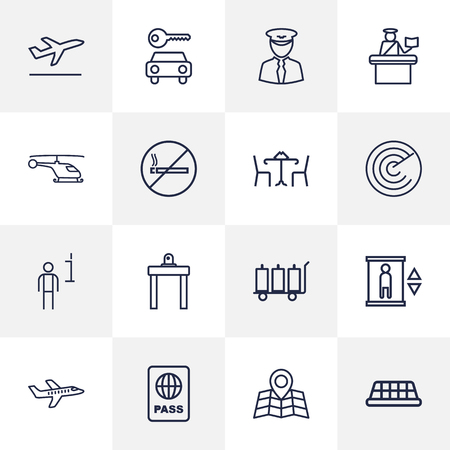 poison: Set Of 16 Aircraft Outline Icons Set.Collection Of Pilot, Cafe, Data And Other Elements.