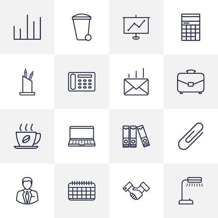 home addition: Set Of 16 Service Outline Icons Set.Collection Of Partnership, Date, Notebook And Other Elements. Illustration