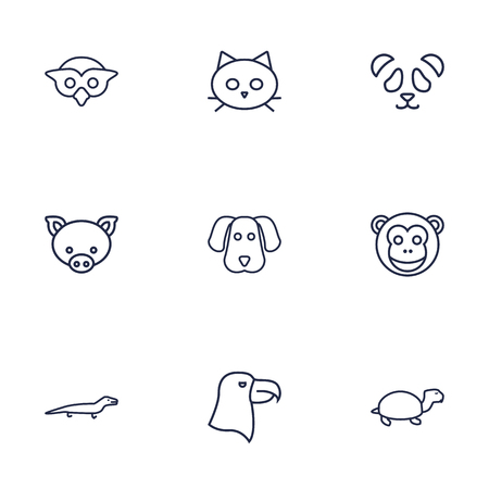 cute dog: Set Of 9 Brute Outline Icons Set.Collection Of Monkey, Eagle, Cat And Other Elements.