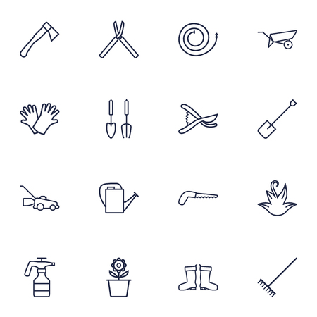 secateurs: Set Of 16 Farm Outline Icons Set.Collection Of Secateurs, Bailer, Barrow And Other Elements.