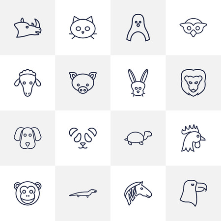 Set Of 16 Beast Outline Icons Set.Collection Of Penguin, Lion, Mammal And Other Elements. Illustration