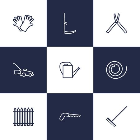 weeds: Set Of 9 Household Outline Icons Set.Collection Of Safer Of Hand , Palisade, Shears Elements.