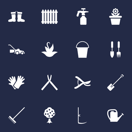 clippers: Set Of 16 Horticulture Icons Set.Collection Of Cutter, Shovel, Rubber Boots And Other Elements. Illustration