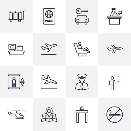 packet driver: Set Of 16 Airplane Outline Icons Set.Collection Of Luggage Trolley, Helicopter, Airport Security And Other Elements.