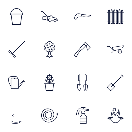 bucket and spade: Set Of 16 Farm Outline Icons Set.Collection Of Herb, Hatchet, Harrow And Other Elements.