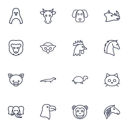Set Of 16 Beast Outline Icons Set.Collection Of Penguin, Elephant, Eagle And Other Elements. Ilustração