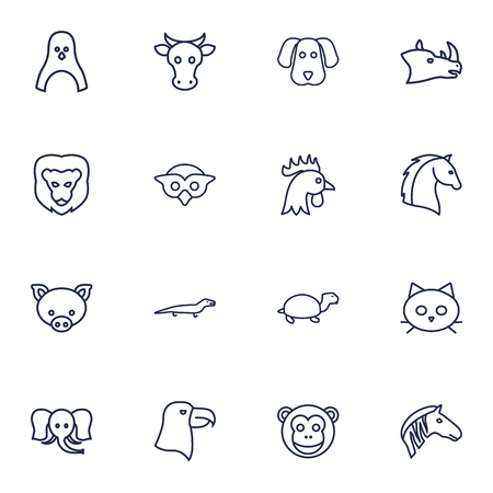 Set Of 16 Beast Outline Icons Set.Collection Of Penguin, Elephant, Eagle And Other Elements. Illustration