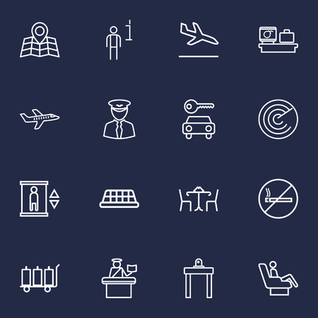 round chairs: Set Of 16 Airplane Outline Icons Set.Collection Of Plane, Business Class, Luggage Check And Other Elements.