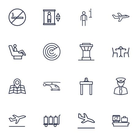 Set Of 16 Airplane Outline Icons Set.Collection Of Control Tower, Plane, Detection And Other Elements. Illustration