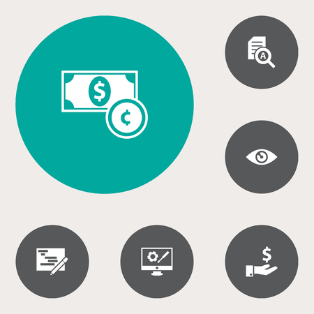 Set Of 6 Strategy Icons Set.Collection Of Currency, Document Checking, Vision And Other Elements.