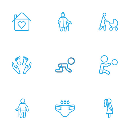 flue: Set Of 9 Family Outline Icons Set.Collection Of Boy, Grandfather, Grangmother Elements.