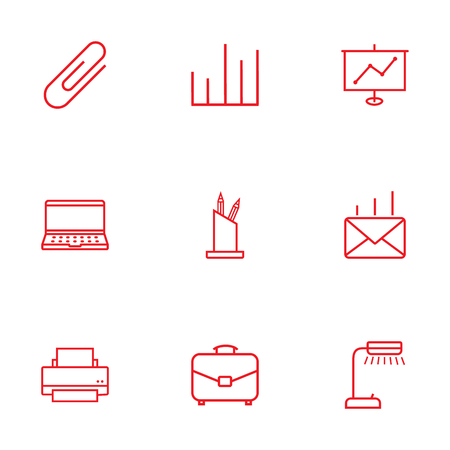 illuminator: Set Of 9 Service Outline Icons Set.Collection Of Show, Fastener Paper, Pen Storage And Other Elements.