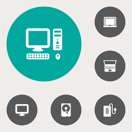Set Of 6 Computer Icons Set.Collection Of Laptop, Hard Disk, Display And Other Elements.