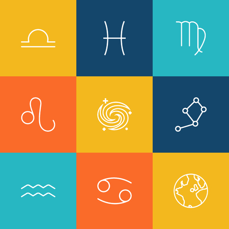 Set Of 9 Astrology Outline Icons Set.Collection Of Libra, Aqurius, Constellation And Other Elements.