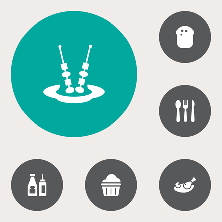 Set Of 6 Restaurant Icons Set.Collection Of Baguette, Catsup, Silverware And Other Elements. Illustration