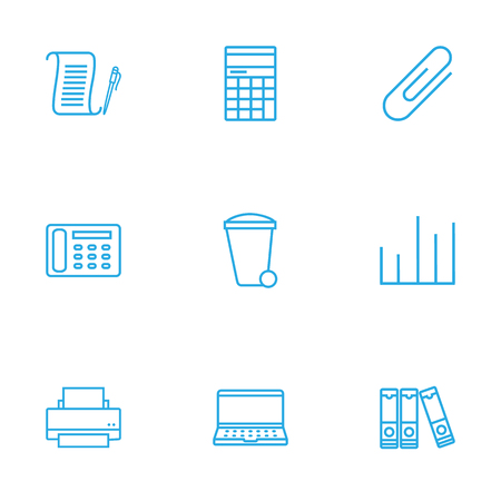 notebook: Set Of 9 Work Outline Icons Set.Collection Of Counter, Recycle Bin, Document Case And Other Elements.