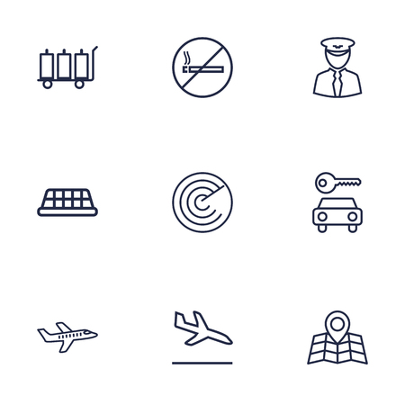 packet driver: Set Of 9 Airplane Outline Icons Set.Collection Of Plane, Pilot, No Smoking And Other Elements.