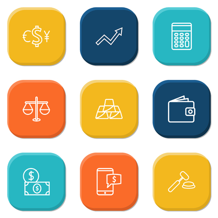 Set Of 9 Sponsor Outline Icons Set.Collection Of Auction, Justice, Golden Bars And Other Elements. Иллюстрация