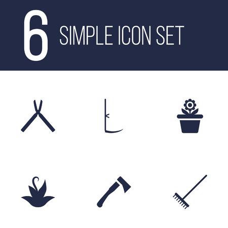 식물, 도끼,가 위 및 다른 요소의 6 원 예 아이콘 집합의 컬렉션입니다.