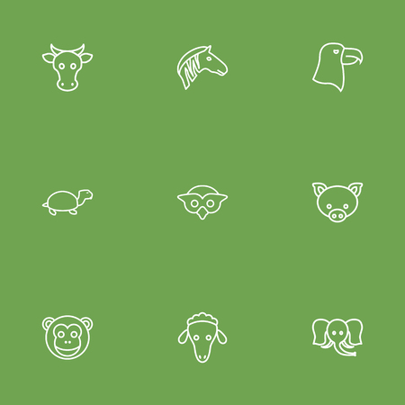 Set Of 9 Beast Outline Icons Set.Collection Of Cow, Sheep, Pig And Other Elements. Illustration