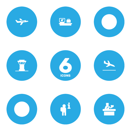 Set Of 6 Land Icons Set.Collection Of Aircraft, Data, Luggage Check And Other Elements.