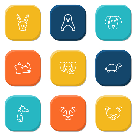 Set Of 9 Alive Outline Icons Set.Collection Of Giraffe, Rhino, Feline Bear And Other Elements.