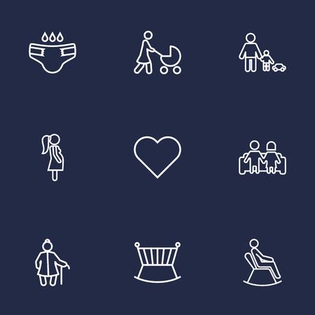 Conjunto de 9 personas contorno conjunto de iconos. Colección de jugar, pañal, mujer embarazada y otros elementos. Foto de archivo - 76569265