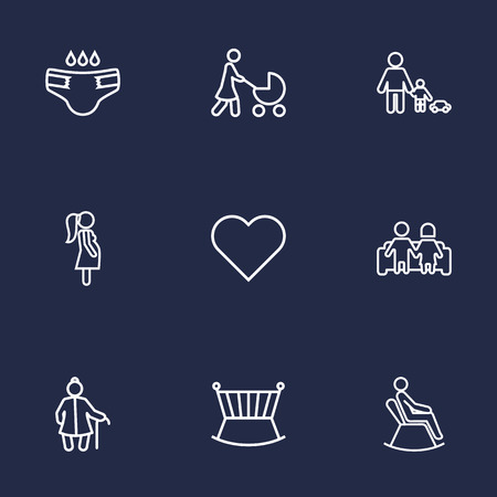 child protection: Set Of 9 People Outline Icons Set.Collection Of Playing, Diaper, Pregnant Woman And Other Elements.