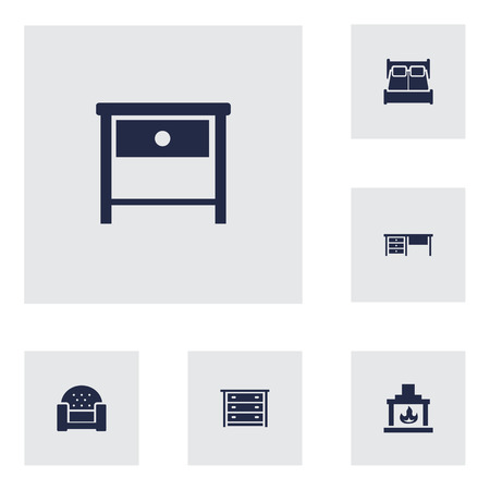 woodpile: Set Of 6 Set; Decor; Situation Icons Set.Collection Of Sofa, Chimney, Commode And Other Elements. Illustration