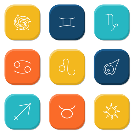 orbital: Set Of 9 Horoscope Outline Icons Set.Collection Of Taurus, Capricorn, Galaxy And Other Elements. Illustration