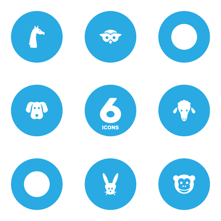 Set Of 6 Beast Icons Set.Collection Of Lamb, Camelopard, Night Fowl And Other Elements.