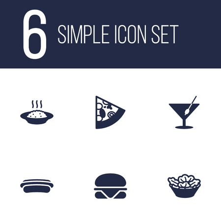 cereal bar: Set Of 6 Dish Icons Set.Collection Of Sausage, Burger, Lettuce And Other Elements. Illustration