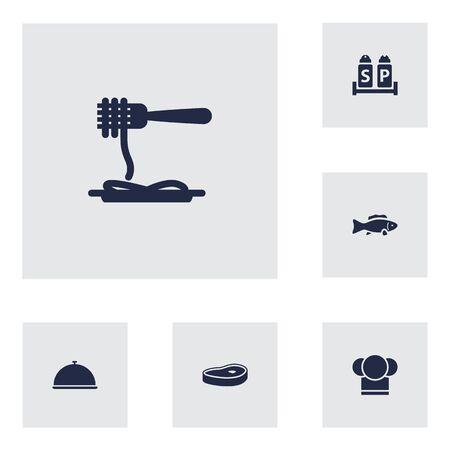 Set Di 6 Icone Di Bar Set.Collection Di Chef, Tonno, Vassoio E Altri Elementi.
